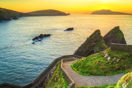 Sunset over Dunquin bay on the Dingle Peninsula, County Kerry