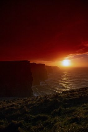The Cliffs of Moher, County Clare at sunset